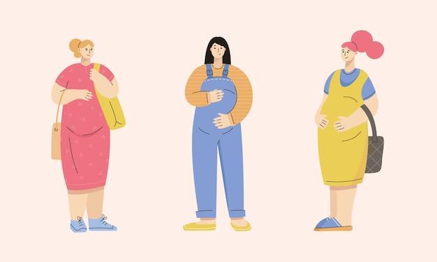 Groep zwangere vrouwen gekleed in casual stad stijl - jurk, overall, zomerjurk, sneakers, slip-ons, muiltjes.