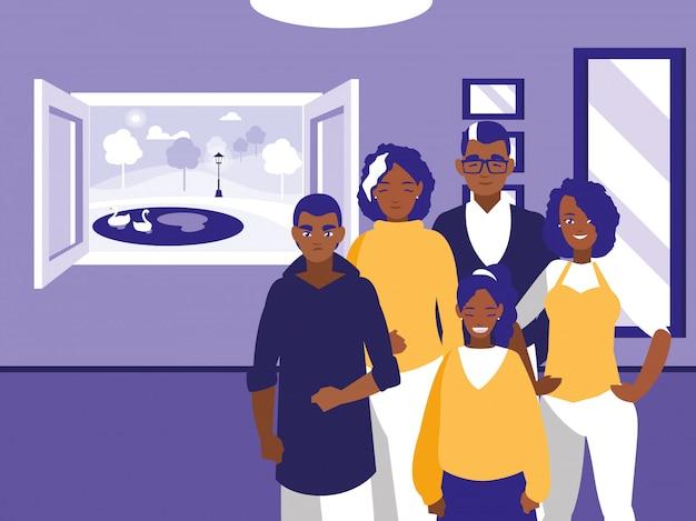 Groep zwarte familieleden in de woonkamer