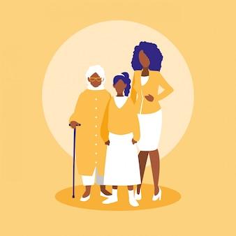 Groep zwarte familieleden tekens