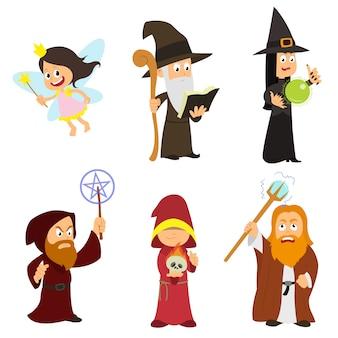 Groepeer fantastische tovenaars, feeën, dodenbezweerders, heksen.