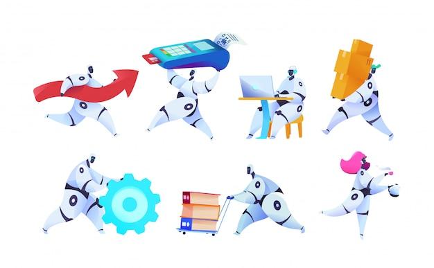 Groepeer verschillende robots op geïsoleerd wit
