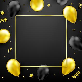 Groepen gouden glanzende en grove ballonnen