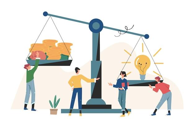 Groepen mensen die op een schommel en balans in het idee investeren