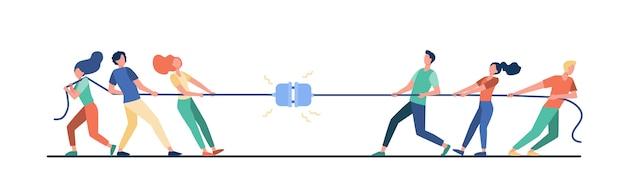 Groepen mensen touw trekken