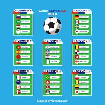 Groepen van voetbalwereldkampioenschap met verschillende vlaggen