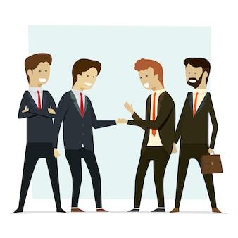 Groeps bedrijfsmensen die handenpartners schudden.