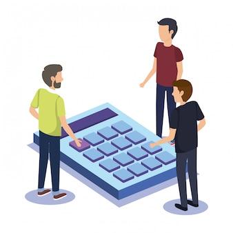 Groeps mensen groepswerk met calculator