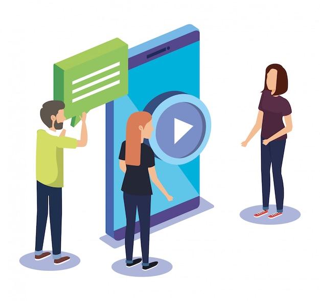 Groeps mensen teamwerk met smartphone