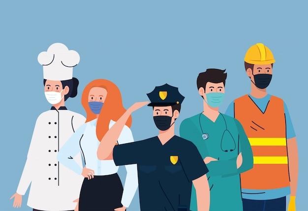 Groepsarbeiders die medisch masker dragen tegen pandemie