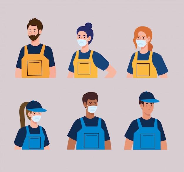 Groepsarbeiders van de schoonmakende dienst die het medische ontwerp van de maskerillustratie dragen