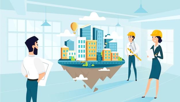 Groepsarchitecten maken en engineeren project van stad