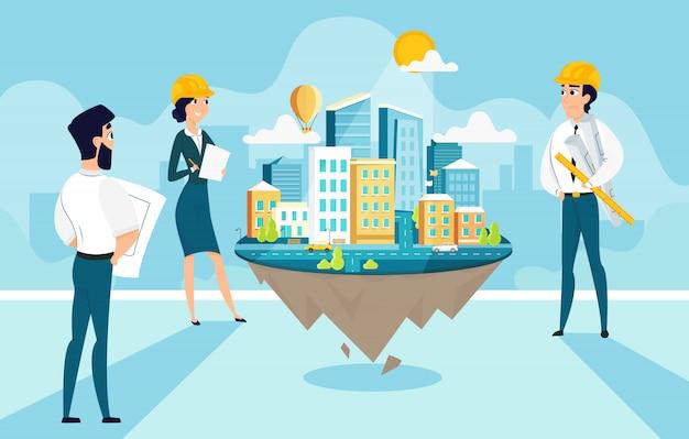 Groepsarchitecten project stad maken en engineeren