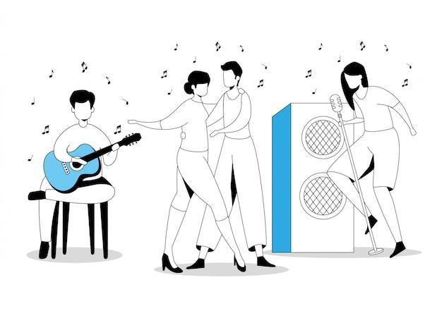 Groepsartiesten dansen en zingen