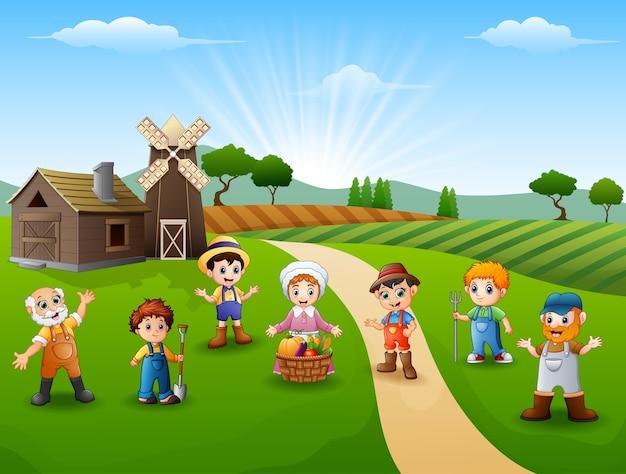 Groepsboeren en tuinman op de boerderij