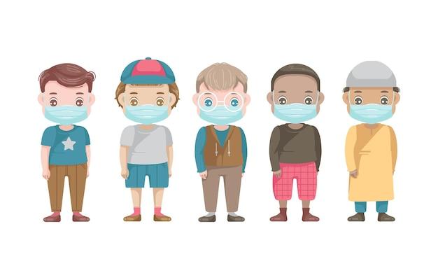Groepset met maskerkarakters voor jongens. covid-19 preventieconcept.