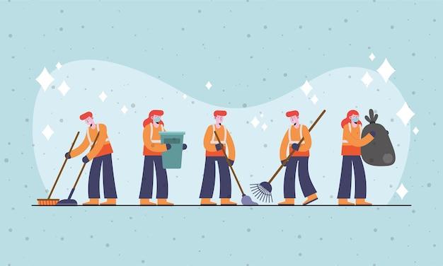 Groepskarakters van vijf personen schoonmaken