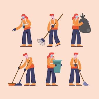 Groepskarakters van zes personen schoonmaken