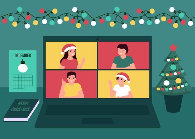Groepsmensen communicatie online samen op kerstvakantie. decoratiespar, gloeilampen desktop en groet kerstmis en nieuwjaar. videogesprek op laptop, virtuele ontmoetingsvrienden. vlak