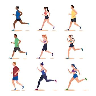 Groepsmensen joggen, mensen met avatarpersonages