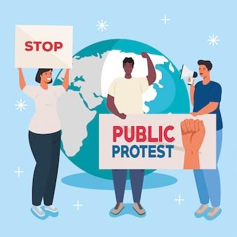 Groepsmensen met protestenborden, en wereld op achtergrond, mensenrechtconcept
