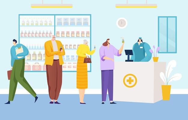 Groepsmensen staan samen in de rij in de rij om een medicijnmedische apotheek te kopen