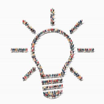 Groepsmensen vormen lamp