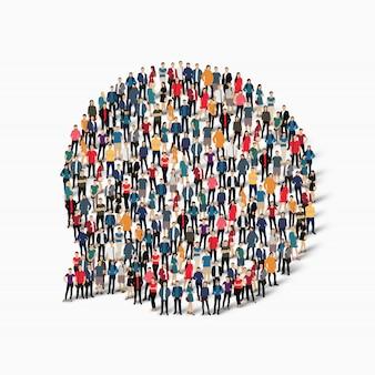 Groepsmensen vormen praatjebellen