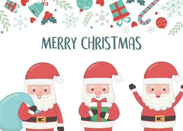 Groepssanta met zak en gift vrolijke kerstkaart