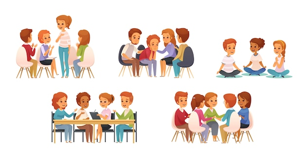 Groepstherapie cartoon pictogrammenset met groep van drie of vier kinderen