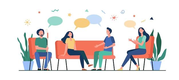 Groepstherapie concept. mensen ontmoeten elkaar en praten, bespreken problemen, geven en krijgen steun. vectorillustratie voor counseling, verslaving, baan als psycholoog, concept van ondersteuningssessie.