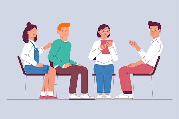 Groepstherapie illustratie concept