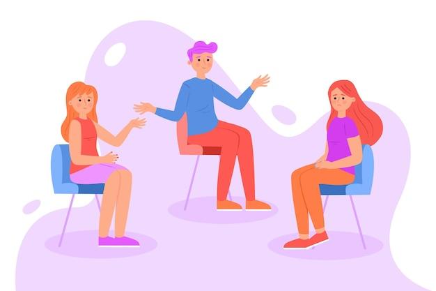 Groepstherapie illustratie