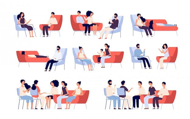 Groepstherapie. mensen menigte overleg met psycholoog, personen praten met psychotherapeut.