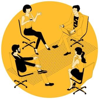 Groepstherapie sessie illustratie.