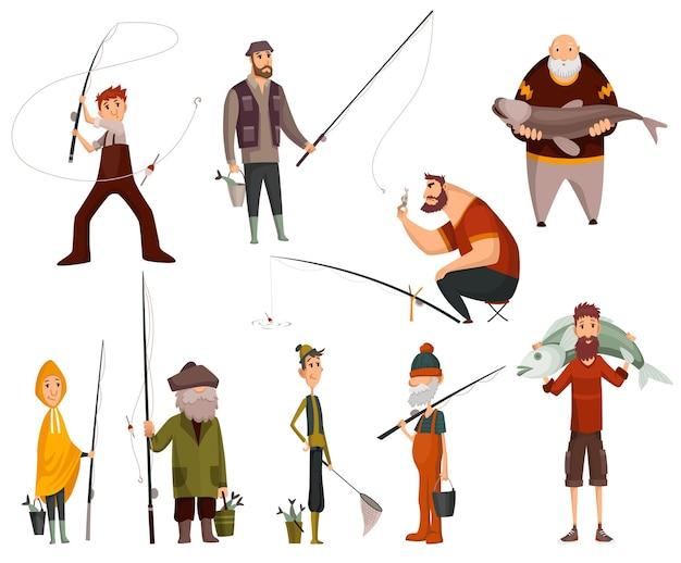 Groepsvissers die met vissen vissen