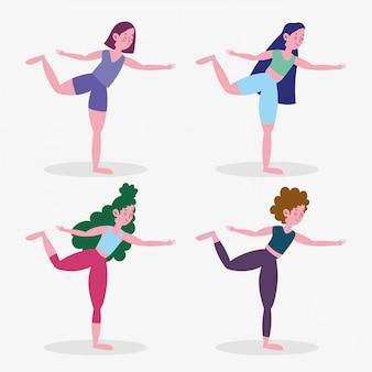 Groepsvrouwen die de sportoefening van de yogaactiviteit thuis uitoefenen