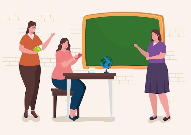 Groepsvrouwen leraar in de klas met onderwijs voorraden