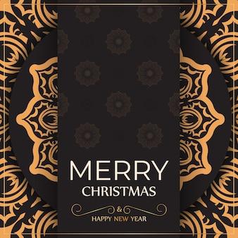 Groet banner happy new year en merry christmas wit met winter patroon.