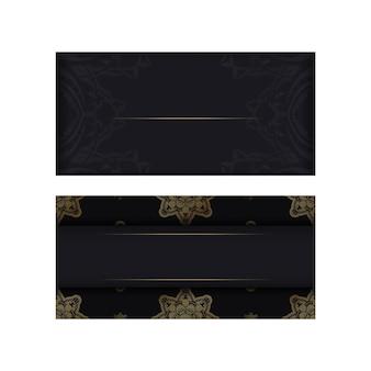 Groet brochure in zwart met abstracte gouden patroon voor uw ontwerp.