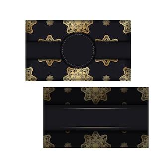 Groet brochure in zwarte kleur met abstracte gouden sieraad voor uw ontwerp.