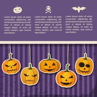 Groet halloween-feestaffiche met tekst en papier die emotionele pompoenen hangen