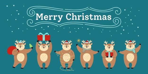 Groet kerstkaart, cartoon rendieren in verschillende poses met rode hoed, met geschenkdoos