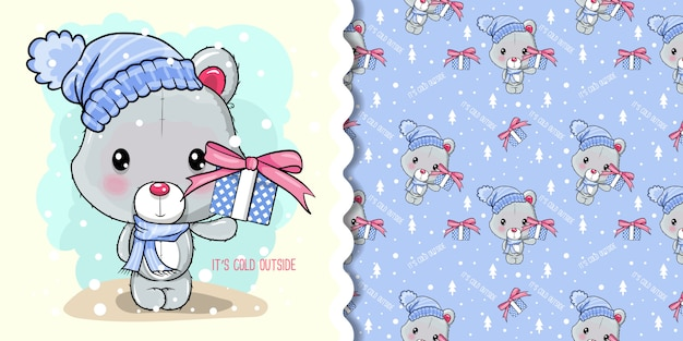 Groet kerstkaart met cartoon ijsbeer