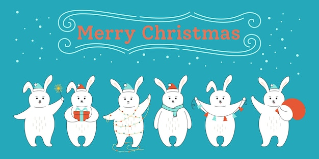 Groet kerstkaart met schattige konijnen in verschillende poses