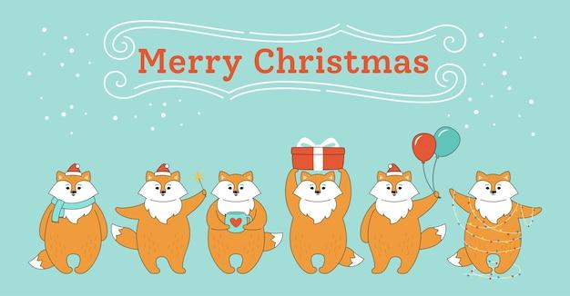 Groet kerstkaart, rode vossen in verschillende poses