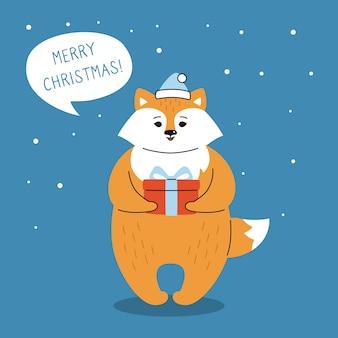 Groet kerstkaart, vos met cadeau en dialoog tekstballon