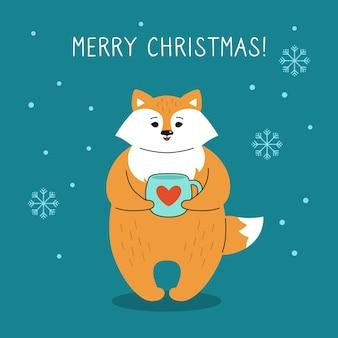 Groet kerstkaart, vos met een kopje thee.