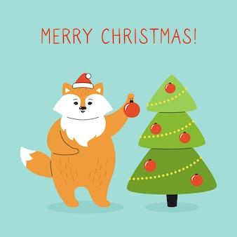 Groet kerstkaart, vos met kerstboom versieren