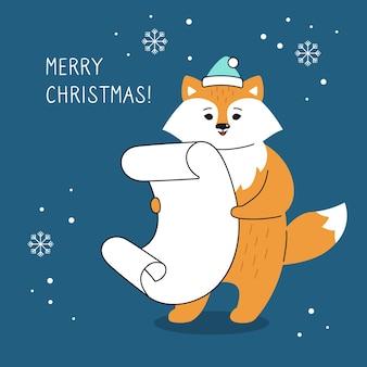 Groet kerstkaart, vos met verlanglijstje hand getekende grappige cartoon nieuwjaar rode vos