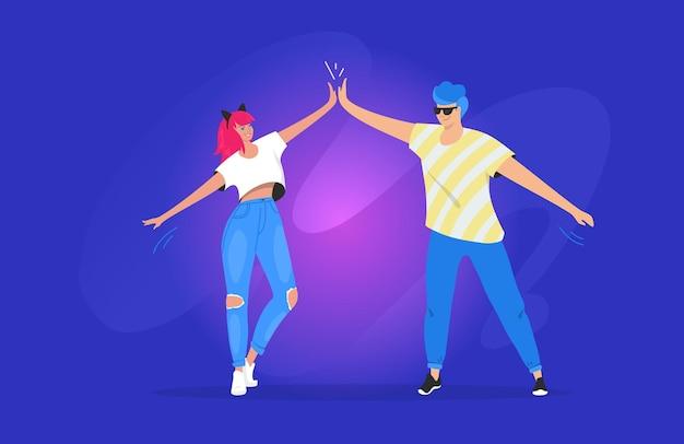 Groet met een high five tussen twee tieners. verloop vectorillustratie van twee jonge vrienden die samen staan en elkaar begroeten met een high five. jonge moderne mensen op blauwe achtergrond